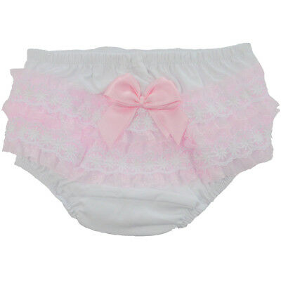 Baby Girls Romany Cotton Frilly Nappy Covering Pants Pink Satin Bow & Lace