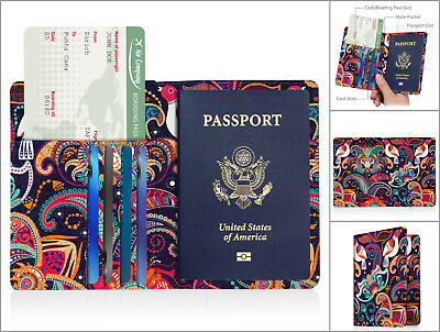Passport Cover Holder USA Travell Case RFID Block Neck Pouch Men Women Black