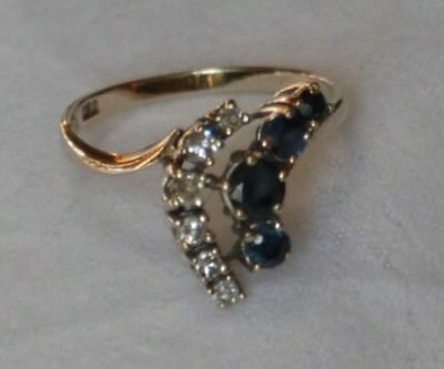 Weißgold Ring Saphir + Brillant 0.22 Ct getempelt 585 Gold