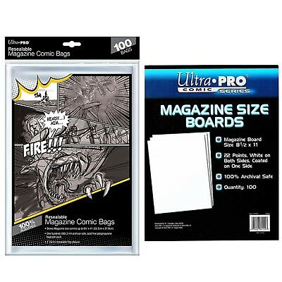 Ultra Pro Resealable MAGAZINE Size Comic Bags x 100 + White Backing Boards x 100