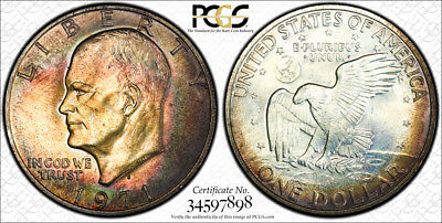 1971-S Eisenhower Ike Silver Dollar $1 PCGS MS64 GREAT Red Target Rainbow Toning