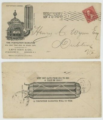 Mr Fancy Cancel 2c ILLUSTRATED 2-SIDED AD COVER PERFECTION RADIATOR ROCHESTER 97