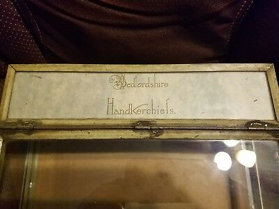 Antique Bedfordshire Handkerchiefs Counter Top Glass Display Case