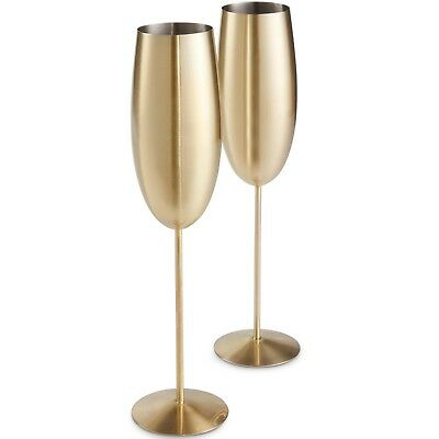 VonShef Champagne Flutes Glasses 2pc Brushed Gold Stainless Steel Shatterproof