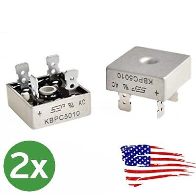US 2X 2 PCS 50A 1000V Metal Case Single Phases Diode Bridge Rectifier KBPC5010