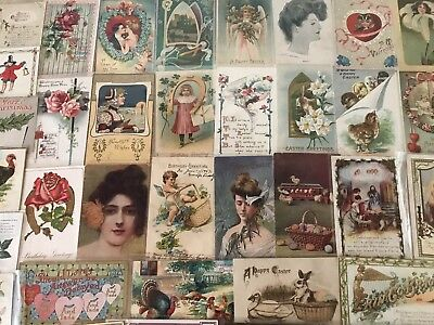 Vintage Mixed Lot of 75 Holidays & Greetings Postcards-Antique-~in Sleeves-p672