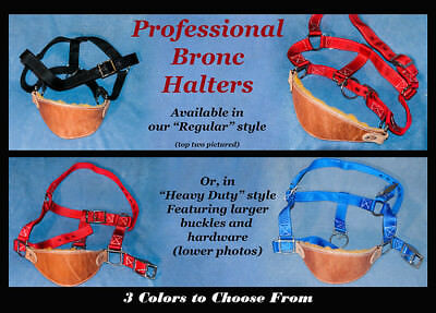 Professional Saddle Bronc Halters, Leather/Nylon, Choice of Colors-rodeo-NEW
