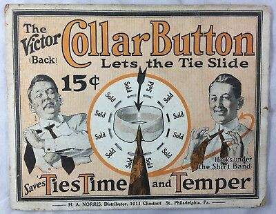c1920s Advertising Sign The Victor Collar Button Tie Slide Philadelphia Fashion