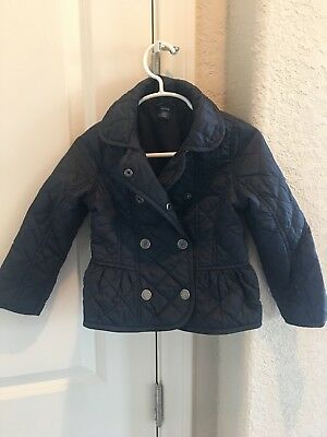 Toddler Girl Baby Gap Navy Blue Long Sleeve Lined Quilted Jacket Sz 4T