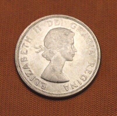 1964 No Dot Canadian Silver Dollar, Canada, $1, Mint Luster, Some Toning, 80%