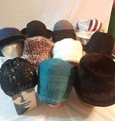Mix Lot Of 10 Ladies  Hats  Church MODERN FESTIVAL outdoors  #Feb01