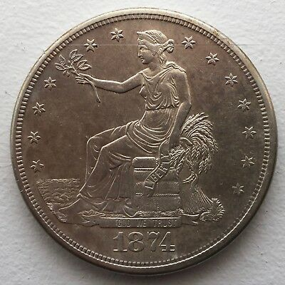 Unique 1874-S TRADE DOLLAR ~ Quality VF to EF Priced to Sell Fast! No Chops.