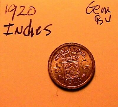 1920 Netherlands Indies 1/10 Gulden Virtual Gem BU Silver Coin of Indonesia Asia
