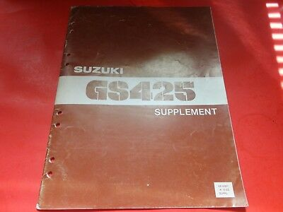 oem factory suzuki 1979 gs425 supplement manual w/ wiring diagram 19 pages
