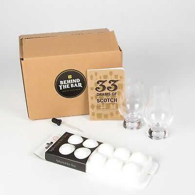 Scotch Whisky Connoisseur Kit- 2 Glasses, Tasting Book, Dropper & Ice Ball Tray