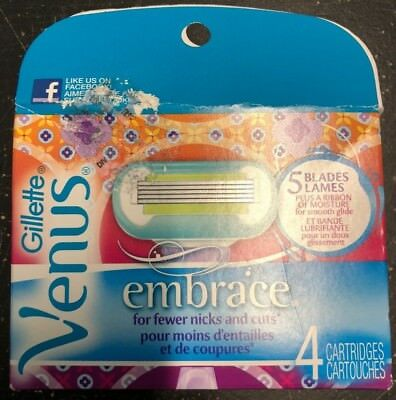 Gillette Venus Embrace Refill Blades 4 Replacement Cartridges - Free Shipping