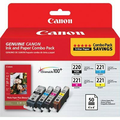 NEW GENUINE Canon 2945B011 PGI-220 and CLI-221 CMY Ink with PP-201 (50 Sheets)