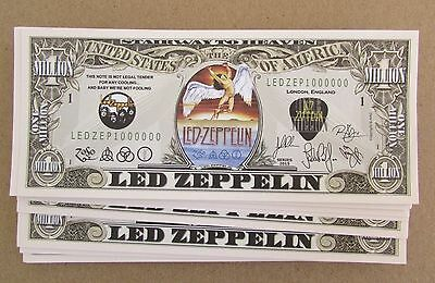 FRESH 25 Led Zeppelin MONEY NOVELTY FAKE ZOFO PLANT LOT MILLION DOLLAR BILLS