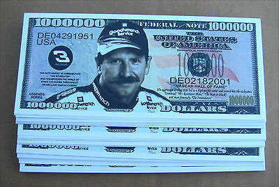 LOT OF 10 Dale Earnhardt Sr MONEY FAKE WHOLESALE MILLION DOLLAR BILLS  FREE SHIP