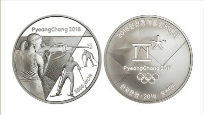 Korea PyeongChang 2018 Olympic Winter Coin (1st) Biathlon Silver Proof