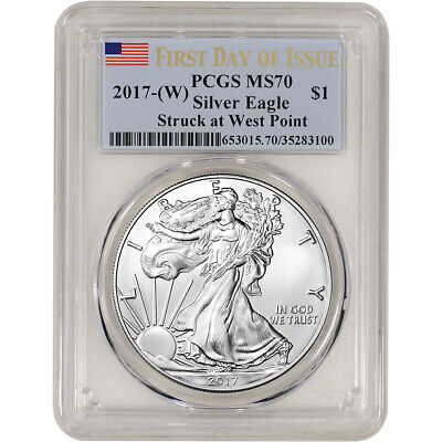 2017-(W) American Silver Eagle - PCGS MS70 - First Day of Issue Flag Label