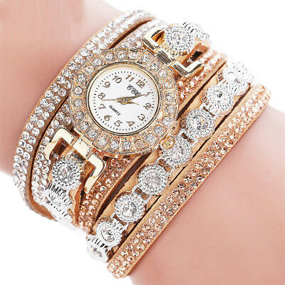 Gift Rhinestone watches women Ladies Crystal Quartz Bracelet Bangle Wrist Watch