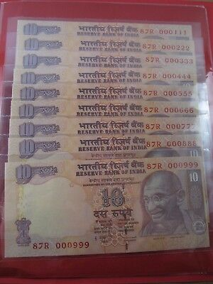 Nine Indian 10 Rupee Bank Notes with Sequential Repeating Serial Numbers