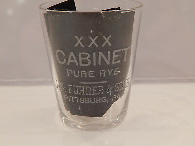 Pre Prohibition Advertising Etched Shot Glass XXX Cabinet Pure Rye