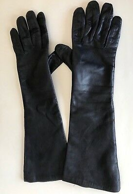 Vtg Women's Navy Blue Leather Gloves Sz  7 Elbow Vintage Bamberg  Lined  - Italy