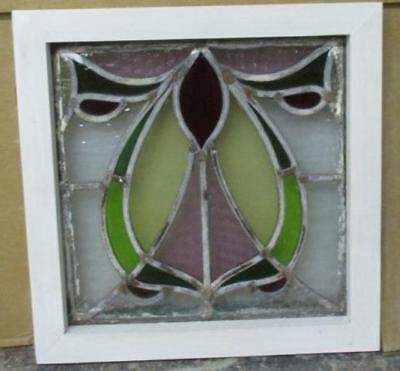 "OLD ENGLISH LEADED STAINED GLASS WINDOW Marvelous Abstract 11.5"" x 11.5"""