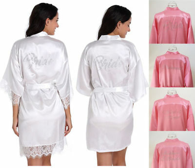 Silk Satin Lace Bride Bridesmaid Robe Beaded Dress Wedding Gown Kimono Bathrobe