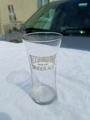 Early 1900`s Pittsburgh Pale Extra Dry Ginger Ale etched drinking glass, Nice !!