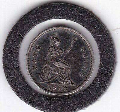 Very  Sharp  Queen  Victoria  1839  Four  Pence  (Groat)  Coin  (92.5% Silver)