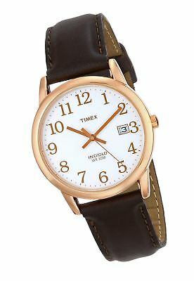 9633a1546a1e Timex Men s T2P563 Easy Reader Rose Gold-Tone Brown Leather Strap Watch