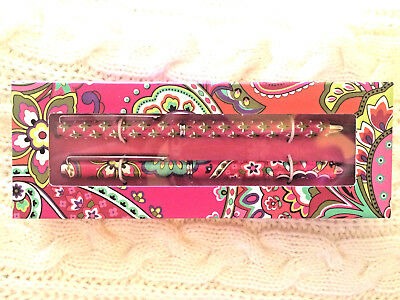 """Vera Bradley """"Perfect Match"""" Pen and Pencil set in PINK SWIRLS  NEW in Box"""