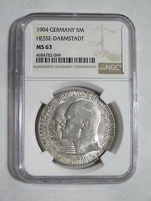 Germany Hesse Darmstadt 1904 5 Mark Ngc Ms63 Crown Old World Coin Collection Lot