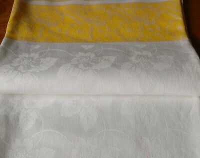 Traditional Irish Vintage Tablecloth Cotton Damask Parchment Main Gold Bands
