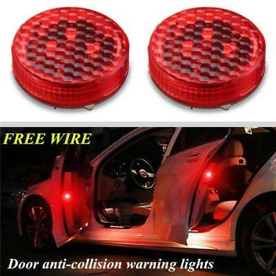 Universal Car Door Red 3 LED Opened Warning Flash Light Kit Wireless Anti-collid