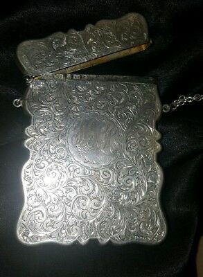 SALE. Rare 1901 Birmingham William Oliver Sterling Visiting Card Case w Chain
