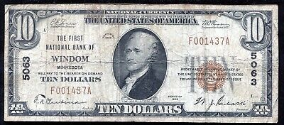 1929 $10 The First National Bank Of Windom, Mn National Currency Ch. #5063