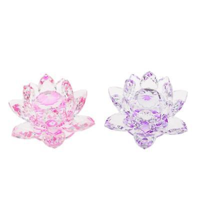 Crystal Lotus Flower Crafts Paperweight Glass Feng Shui Decor Purple & Pink
