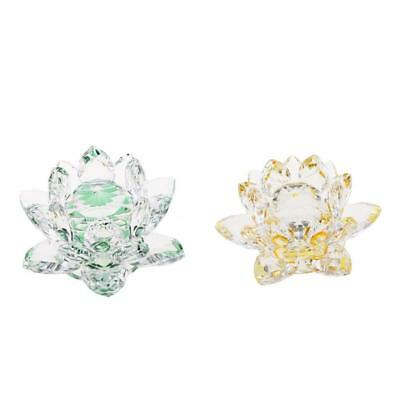 2x Crystal Lotus Crafts Paperweight Glass Model Wedding Gift Green & Yellow