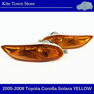 Yellow Fog Lights Clear Lens Front Lamps FOR 2005 - 2008 Toyota Corolla Solara