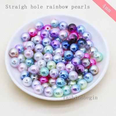 500p 4mm Round Rainbow Spacer Beads Sew on Acrylic Pearl Beaded Jewelry Making