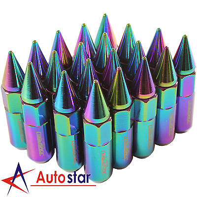 20pcs Wheel Lug Nuts Neo Chrome Cap Spiked Extended Tuner Aluminum M12X1.5 60mm