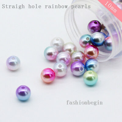 50p 10mm Rainbow Sew on Pearl Round Loose Spacer Beads jewelry making DIY crafts