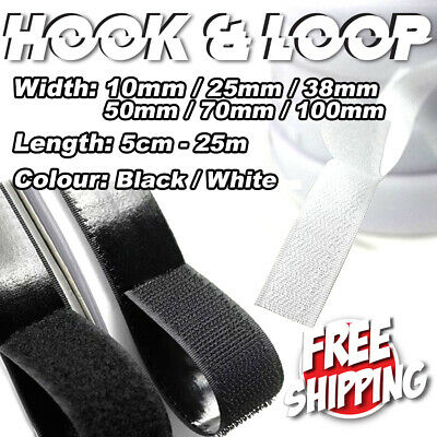 10/25/38/50/70/100mm Self-Adhesive Hook Loop Fastening Tape Black White Sticky
