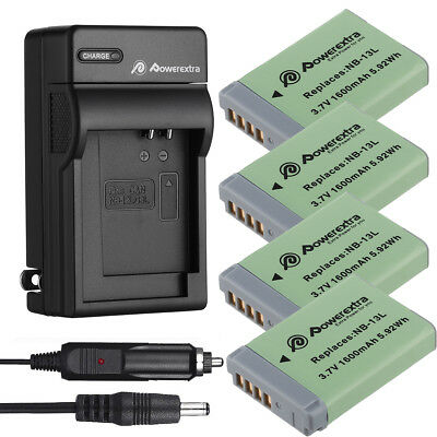 1600mAh NB-13L Battery + Charger for Canon PowerShot G5X G7X G9X G3X Mark II HS