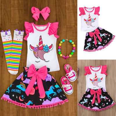 USASTOCK Kids Baby Girl Unicorn Clothes Tops Dress Bowknot Skirt Outfit Clothes