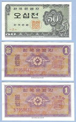 South Korea Banknotes Money Currency 1962, Two 1 Won Notes, 1 50 Jeon Note